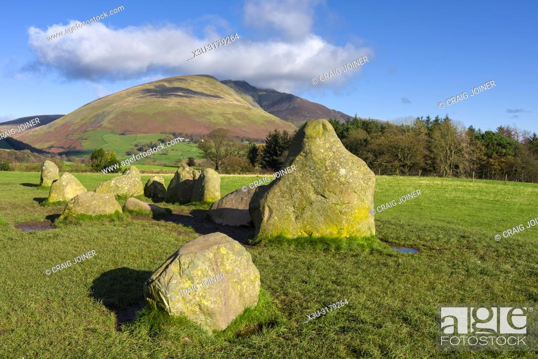 Stock Photo: The ancient Castlerigg Stone Circle with Blencathra fell beyond in the English Lake District National Park, Cumbria, England.