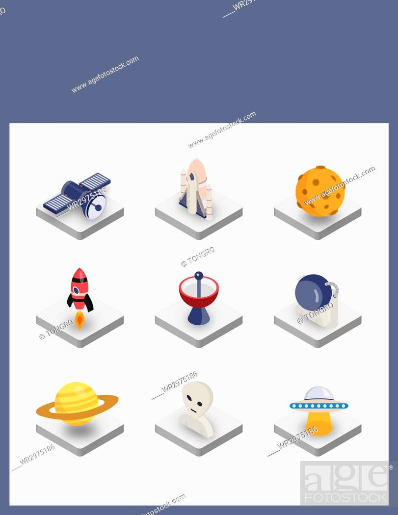 Stock Photo: Set of various icons related to space science.