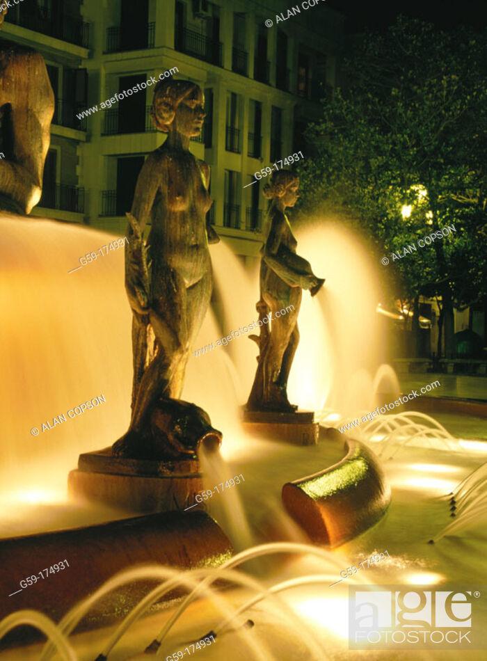 Stock Photo: Detail of fountain at Plaza de la Virgen. Valencia. Spain.