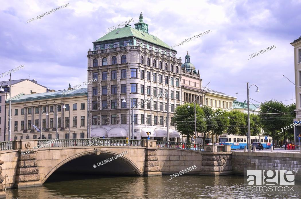 Stock Photo: View of Södra Hamngatan and Lilla torget in Gothenburg, Bohuslan, Sweden.