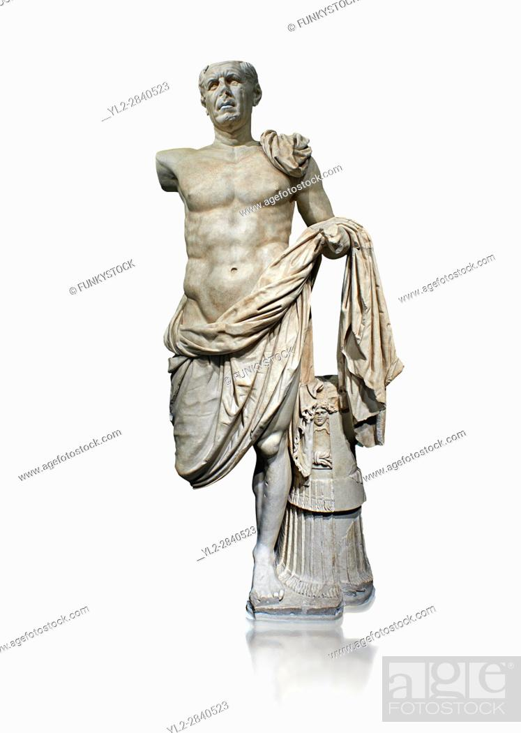 Stock Photo: Roman Portrait statue of the so-called General Tivoli a Roman commander circa 70-70BC made in Greek marble and found in the excavation of the Temple of Hercules.