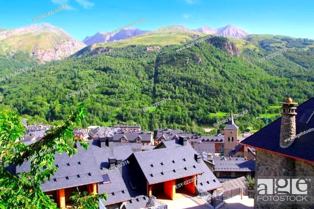 Stock Photo: Panticosa village high view slate roofs Pyrenees.