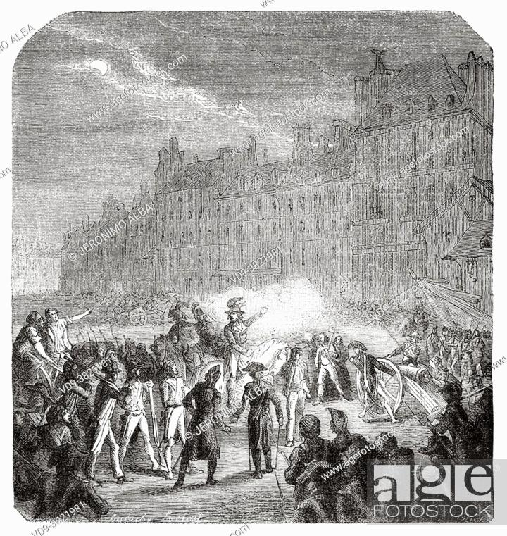 Stock Photo: The Revolutionary Committees in front of the town hall, Paris. France. Old 19th century engraved illustration from Histoire de la Revolution Francaise 1876 by.