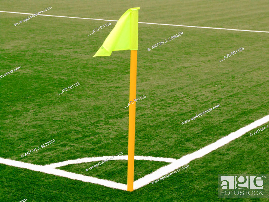 Stock Photo: Soccer pitch: corner arc.