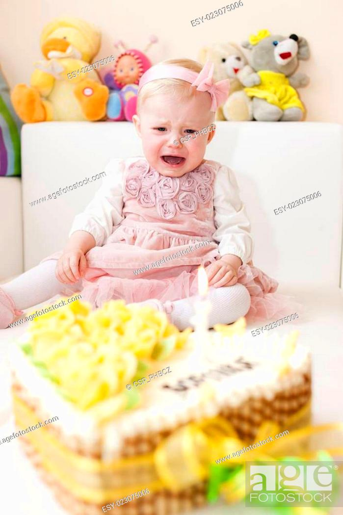 Superb Sitting Toddler Girl With Her Birthday Cake Stock Photo Picture Personalised Birthday Cards Veneteletsinfo
