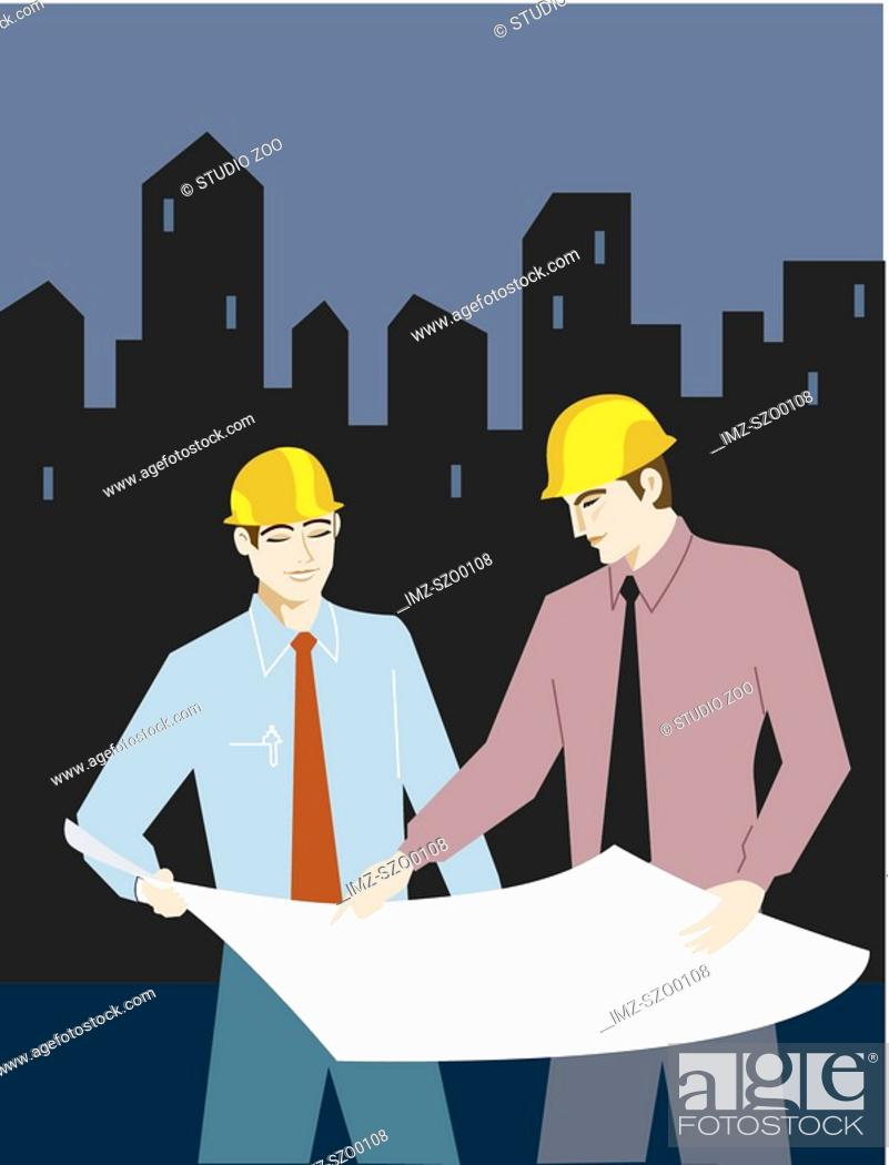 Stock Photo: Two businessman wearing hardhats and looking at plans.