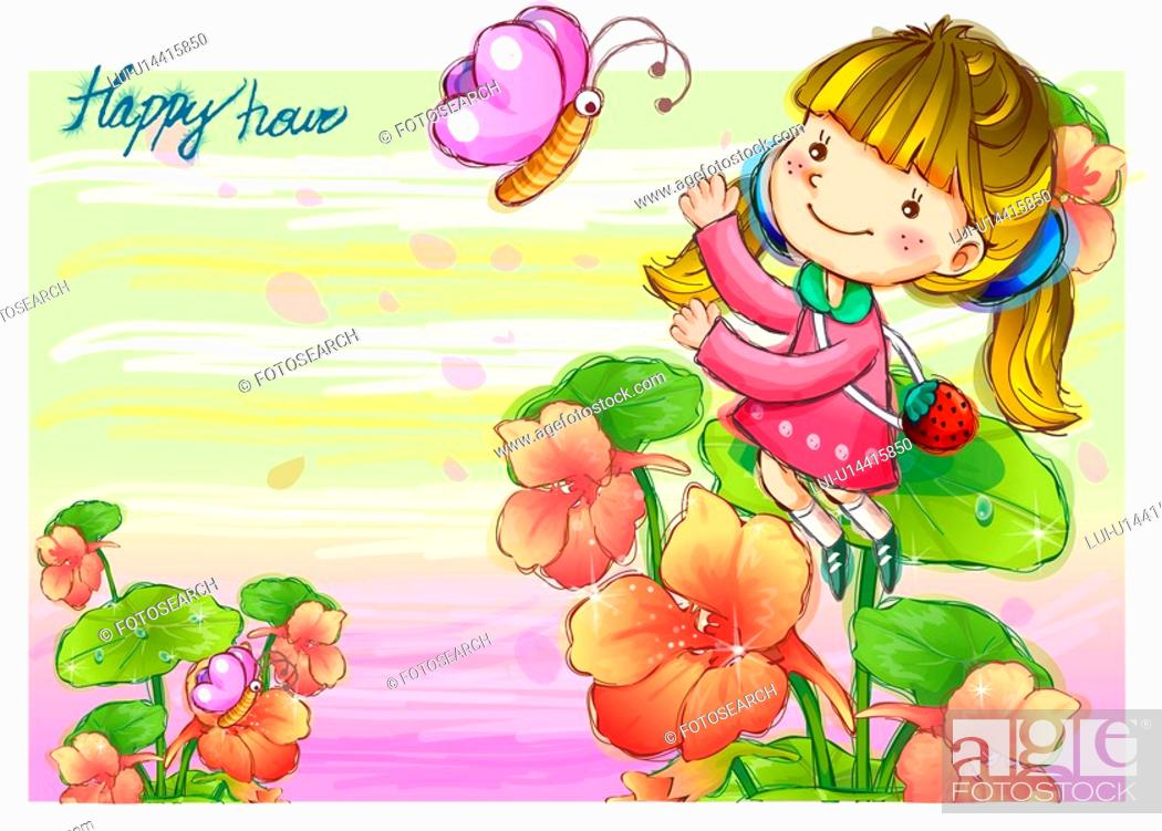 Stock Photo: imagination, fairy tale, fancy, butterfly, flower, nature.