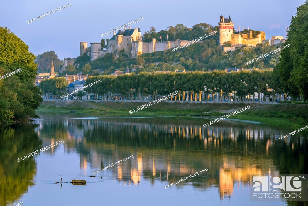 Stock Photo: The banks of Vienne River, the City and the Royal Fortress of Chinon. Indre-et-Loire Department, Centre-Val de Loire Region, Loire valley, France, Europe.