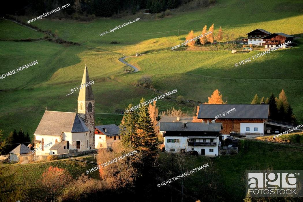 Stock Photo: The church of Sankt Magdalena (Santa Maddalena), Villnößtal (Val di Funes), Trentino-Alto Adige, South Tyrol, Italy.
