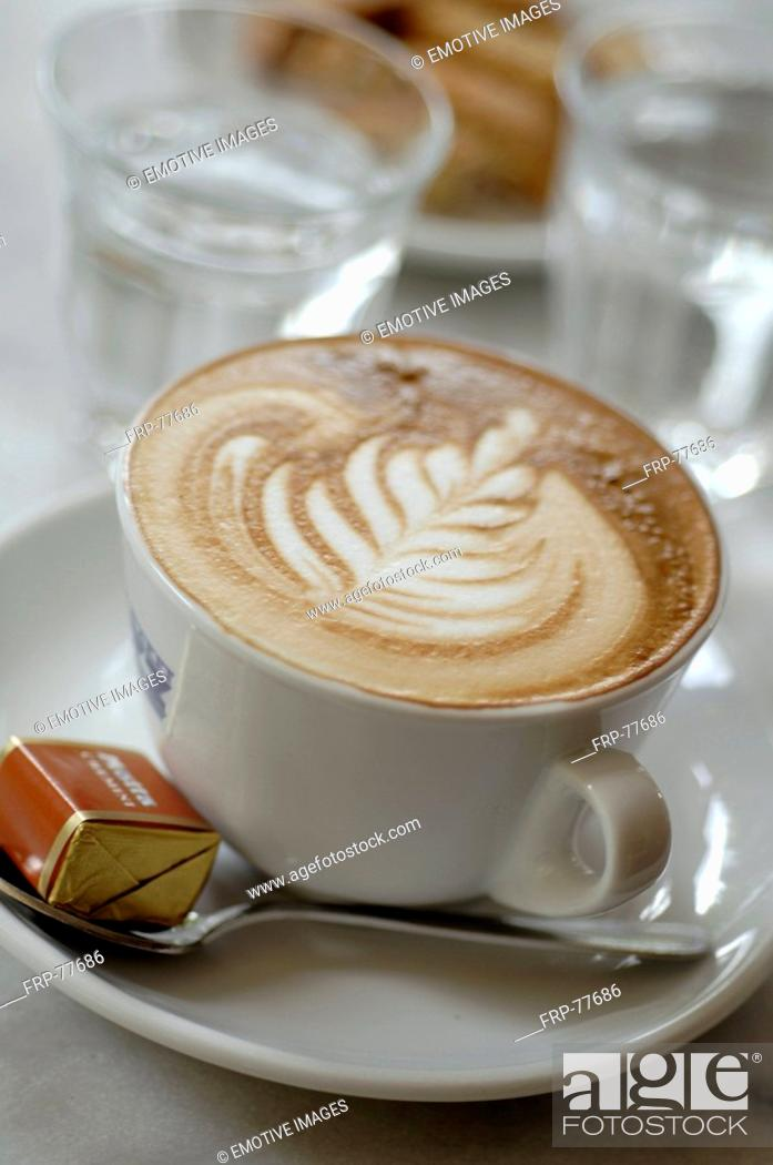 Stock Photo: Cappuccino with froth ornament.