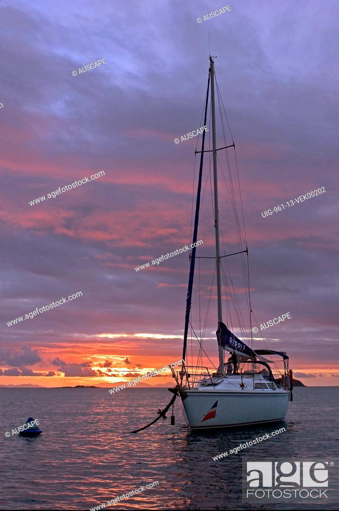 Stock Photo: Yacht anchored at sunset Stonehaven Inlet, Whitsunday Island, Whitsunday Group, Great Barrier Reef Marine Park, Queensland, Australia.