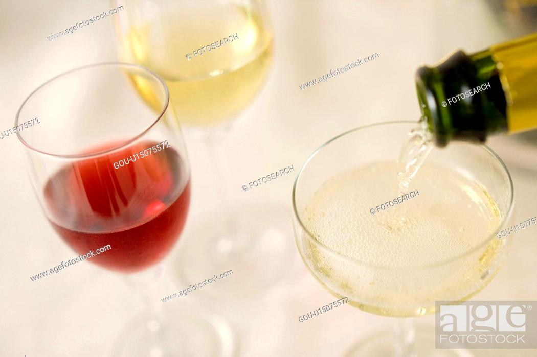 Stock Photo: Champagne and wine.
