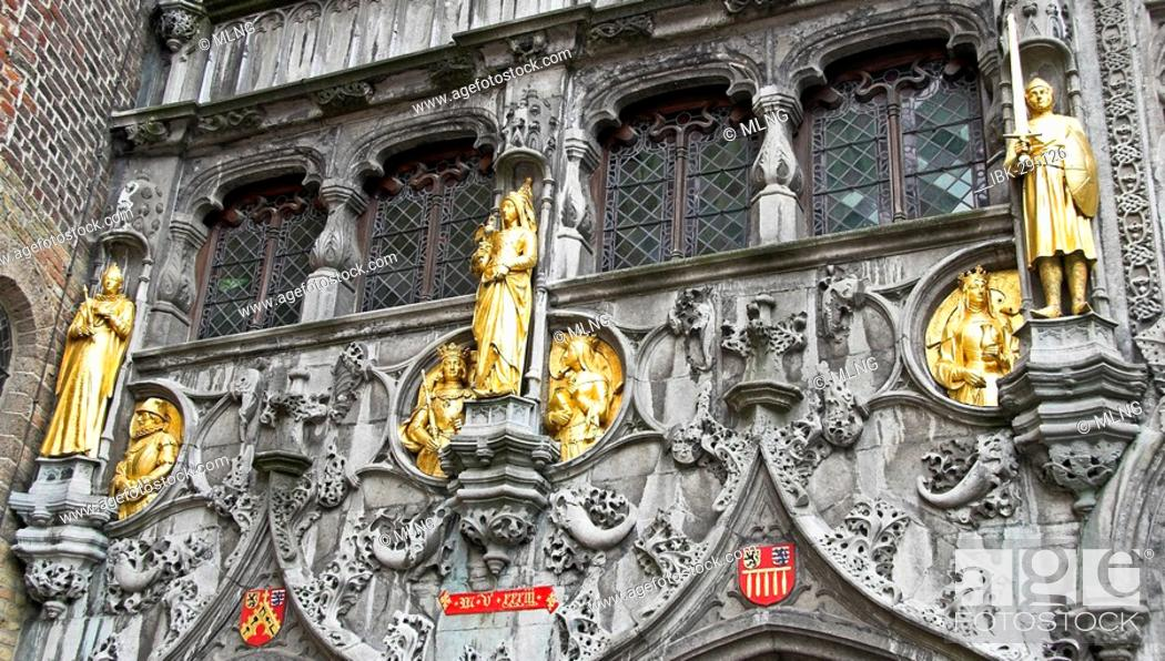 Stock Photo: Statues of Basilica of the Holy Blood (Heilige Bloed Basiliek) in Brugge, West Flanders, Belgium.