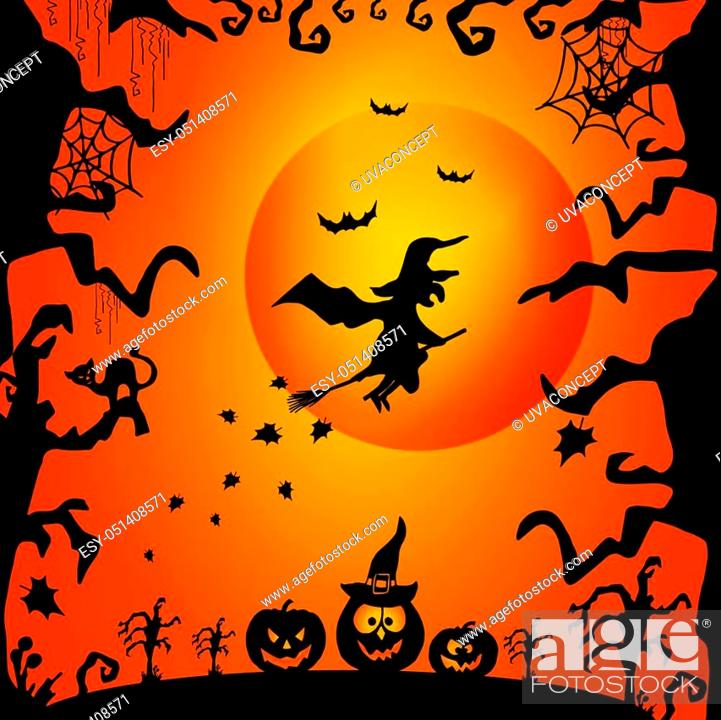 Vector: Art card for Happy Halloween. Design template for flyers, posters, ecards, invitations, brochures. Creative style. Vector illustration.