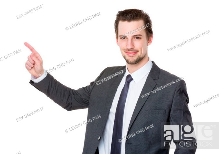 Stock Photo: Caucasian young businessman with finger point up.