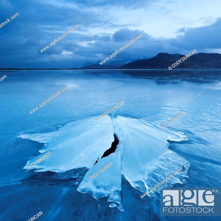 Stock Photo: Ice formation of frozen coast of Ytterpollen, Lofoten Islands, Norway.