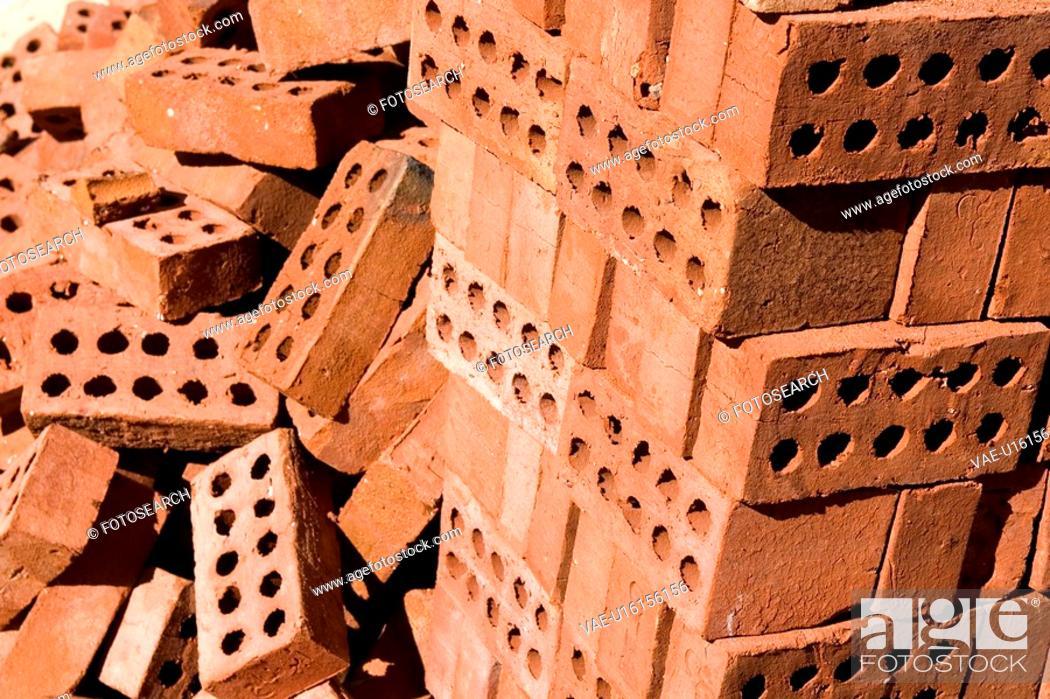 Stock Photo: Brick, Hole, Day, Close-Up, Arrangement.