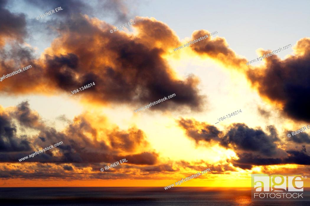 Stock Photo: Sunset near Mosteiros / Sao Miguel Island / Azores / Portugal.