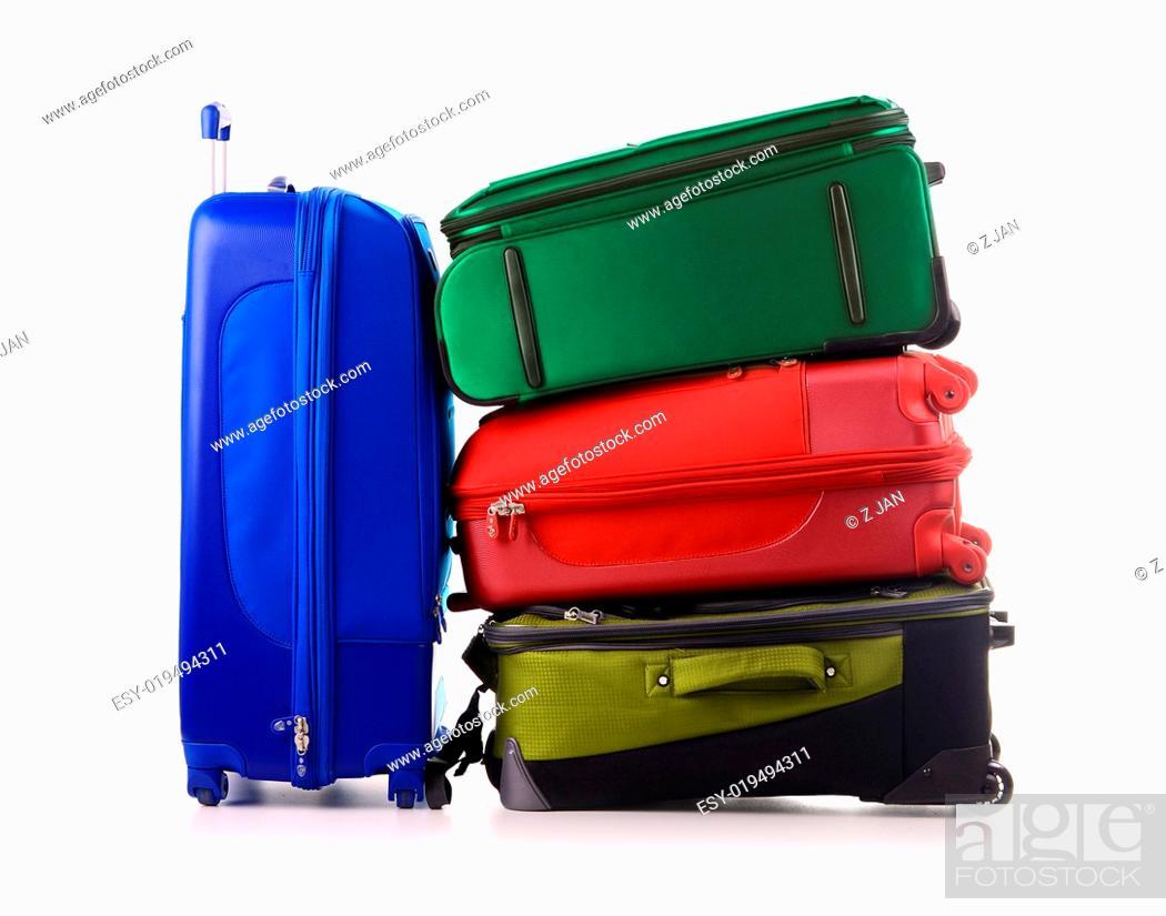 Stock Photo: Luggage consisting of large suitcases isolated on white.
