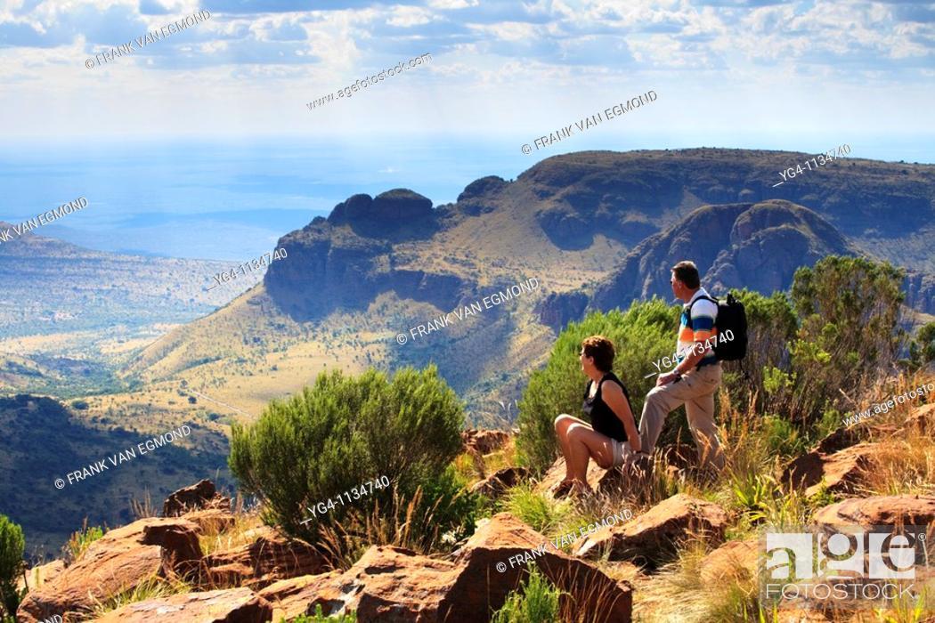 Stock Photo: Senior couple hiking at the Waterberg, Marakele National Park, South Africa.