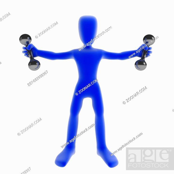 Stock Photo: Blue 3d figure holding 2 small dumbbells.
