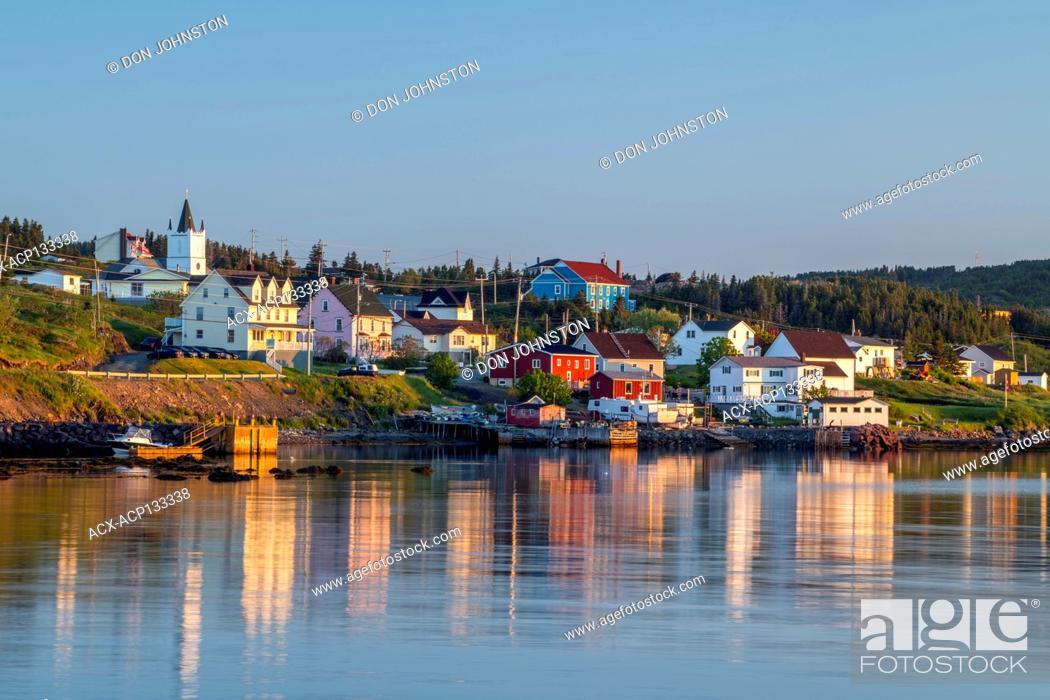 Stock Photo: Shoreline buildings at sunrise, Twillingate, Newfoundland and Labrador NL, Canada.
