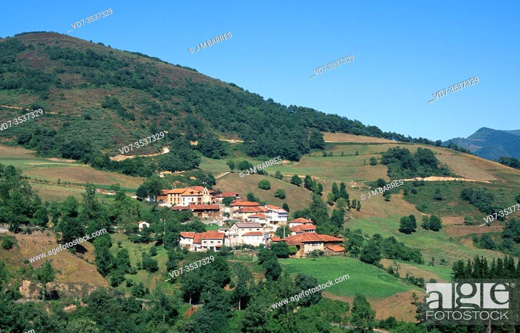 Stock Photo: Dobarganes, little town near Puerto de San Glorio, Cantabria, Spain.