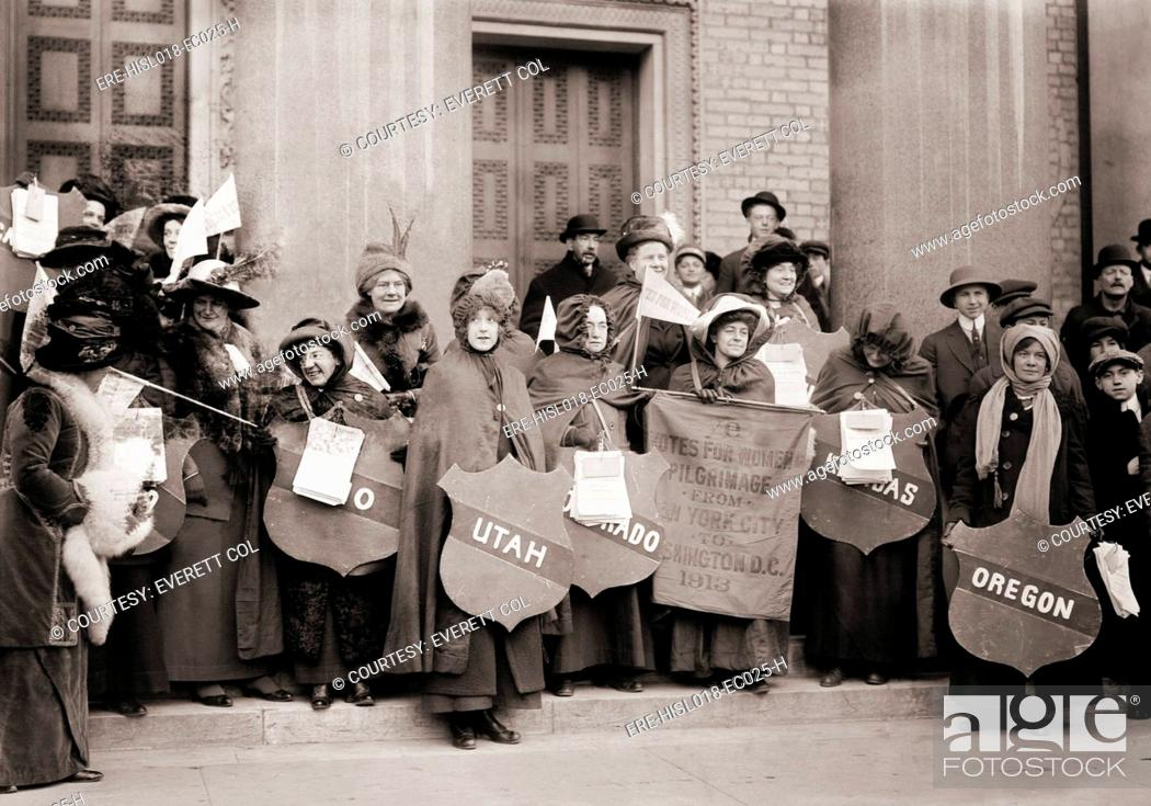 Stock Photo: Women's Suffrage hikers who took part in the walk from New York City to Washington, D.C. to join the National American Woman Suffrage Association parade of.