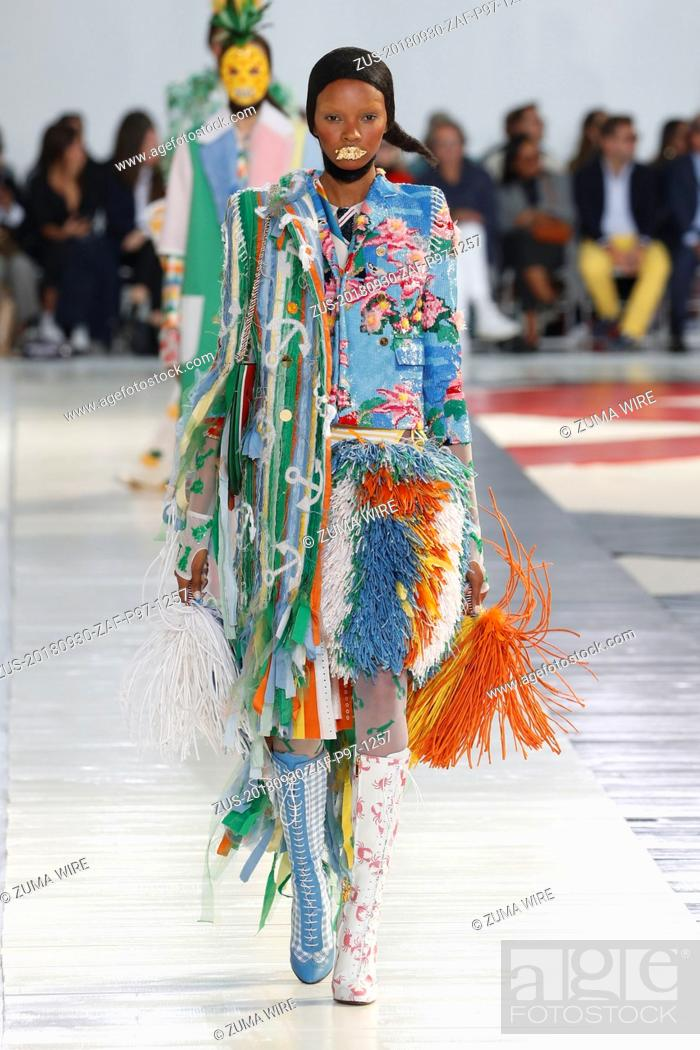 Stock Photo: September 30, 2018 - Paris, France - Thom Browne. - Model On Catwalk, Woman Women, Paris Fashion Week 2019 Ready To Wear For Spring Summer, Defile.