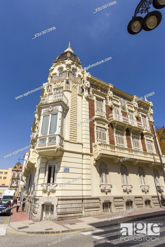 Stock Photo: Palacio Aguirre, the Modernist home of the Regional Museum of Modern Art (MURAM) in Cartagena, Spain.