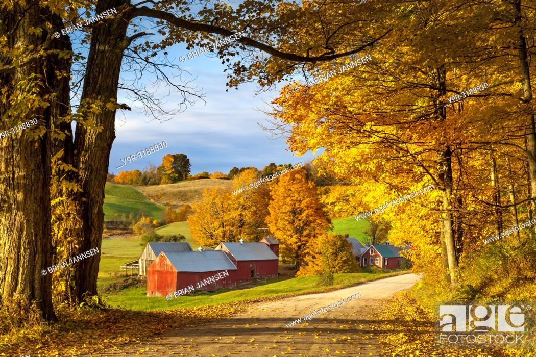 Stock Photo: Autumn dawn at the Jenne Farm near South Woodstock, Vermont, USA.