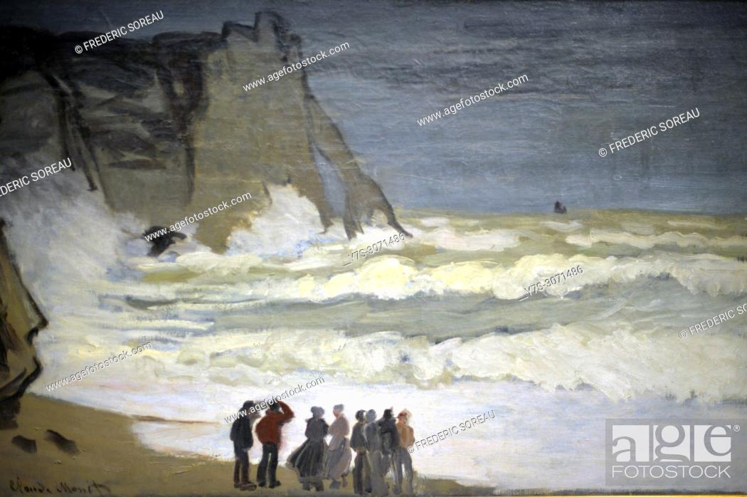 Stock Photo: Stormy Sea at Etretat, 1868, oil on canvas, Claude Monet, Musee d'Orsay, Orsay Museum, Paris, France, Europe.