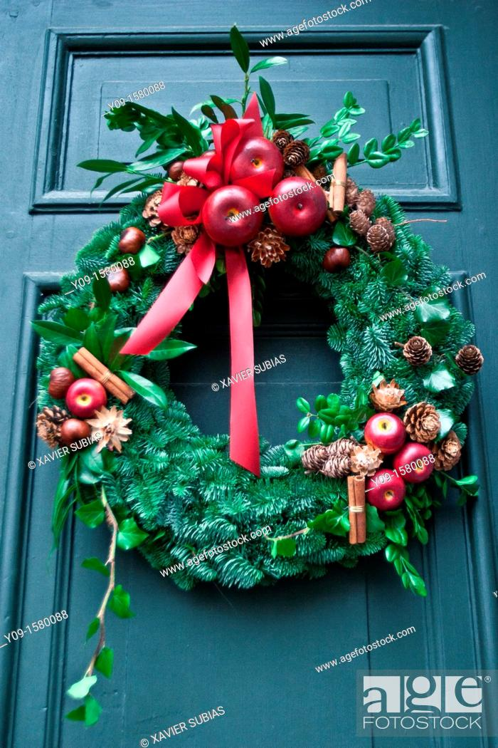 Stock Photo: Christmas wreath, Stockholm, Sweden.