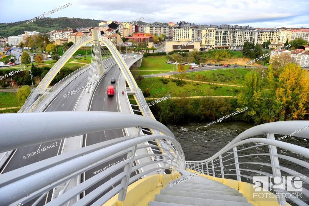 Stock Photo: Milennium bridge over Miño river, Orense, Spain.