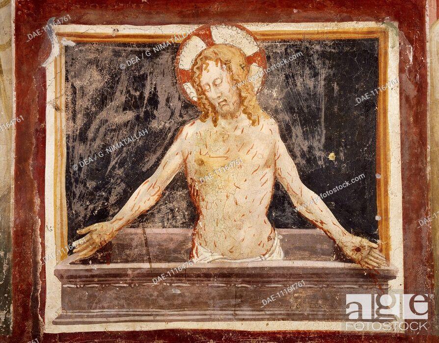 Stock Photo: Pieta, fresco in the Lower Church of Sacro Speco Monastery, Subiaco. Italy, 12th century.