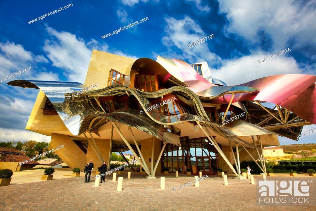 Stock Photo: Marques de Riscal Hotel, designed by architect Frank Owen Gehry, Elciego, Rioja Alavesa, Araba, Basque Country, Spain, Europe.