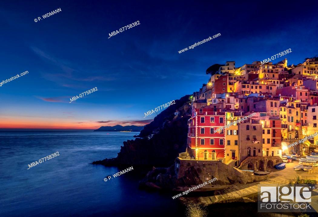 Stock Photo: Fishing village of Riomaggiore at night, Cinque Terre, La Spezia, Liguria, Italy, Europe.