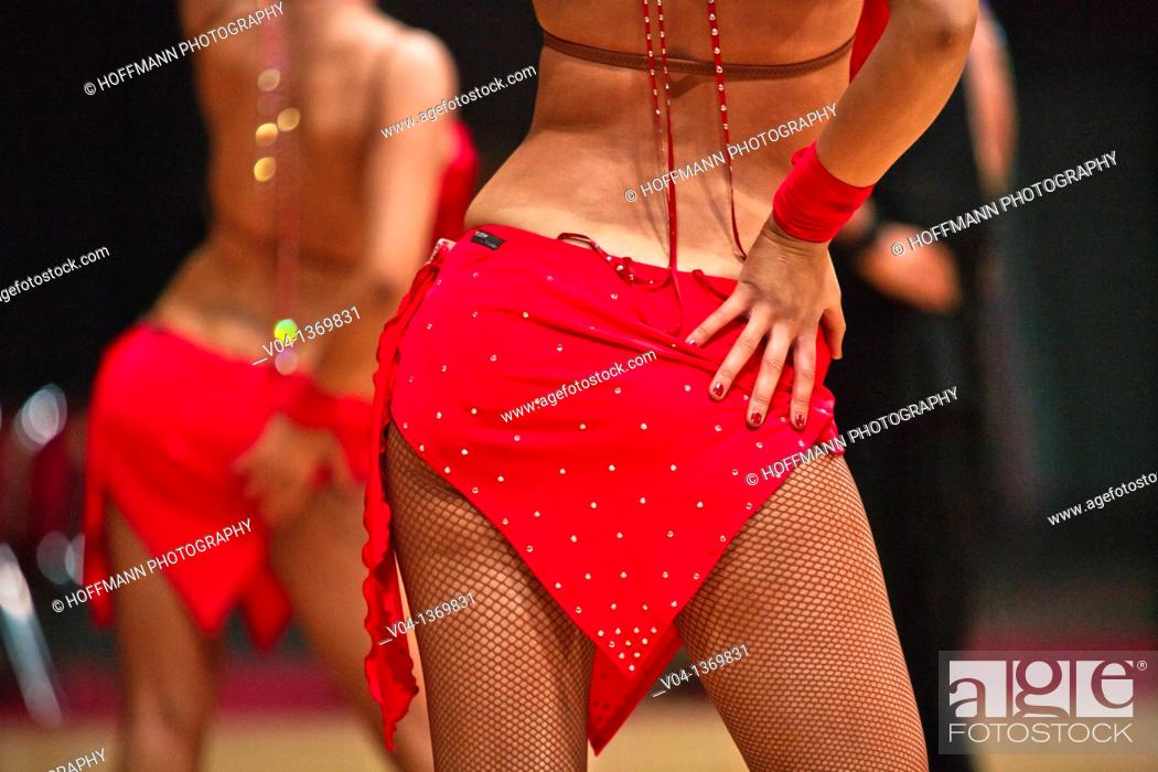 Stock Photo: Back of a female dancer at a dancing competition in Germany, Europe.