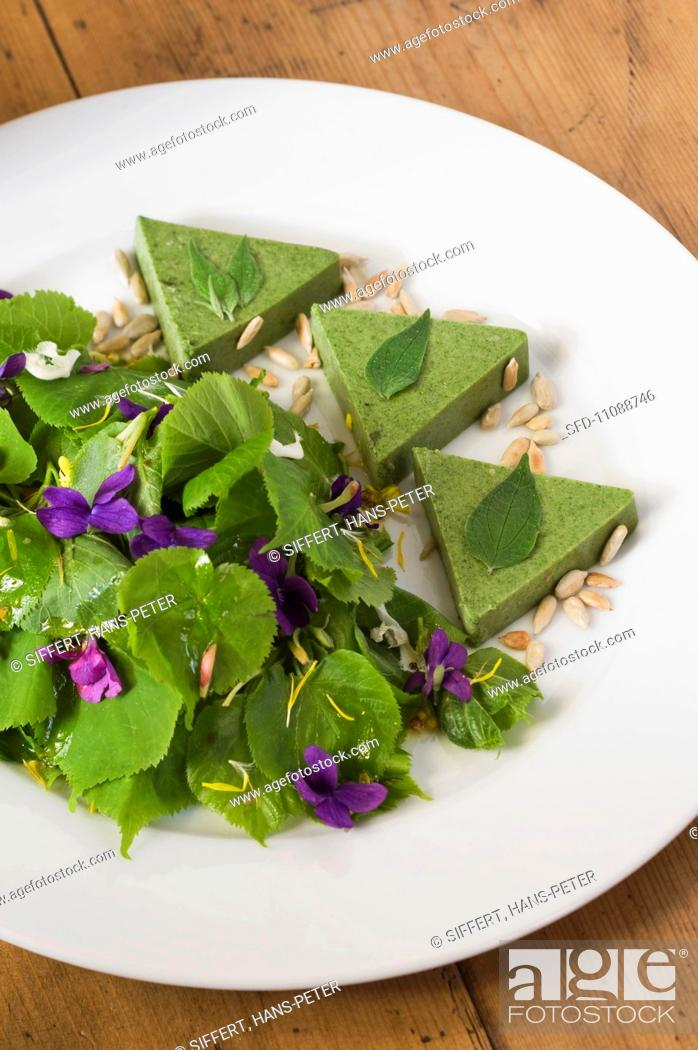 Stock Photo: Parietaria terrine with a lime leaf salad and violets.