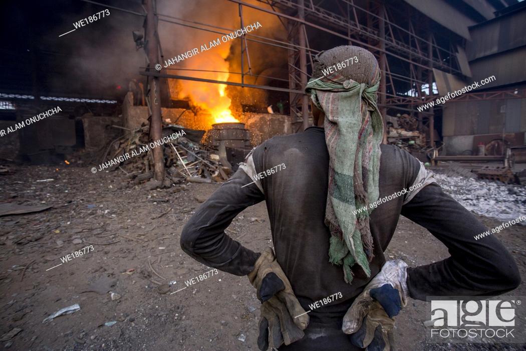 Stock Photo: Blast furnace in the melt steel works in Demra, Dhaka, Bangladesh.