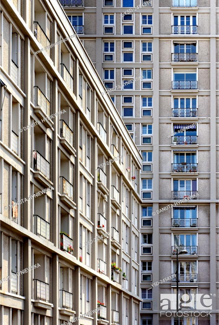 Imagen: Downtown rebuilt by Auguste Perret listed as World Heritage by UNESCO, facades of Perret buildings, Le Havre, Seine Maritime, Upper Normandy, France,.