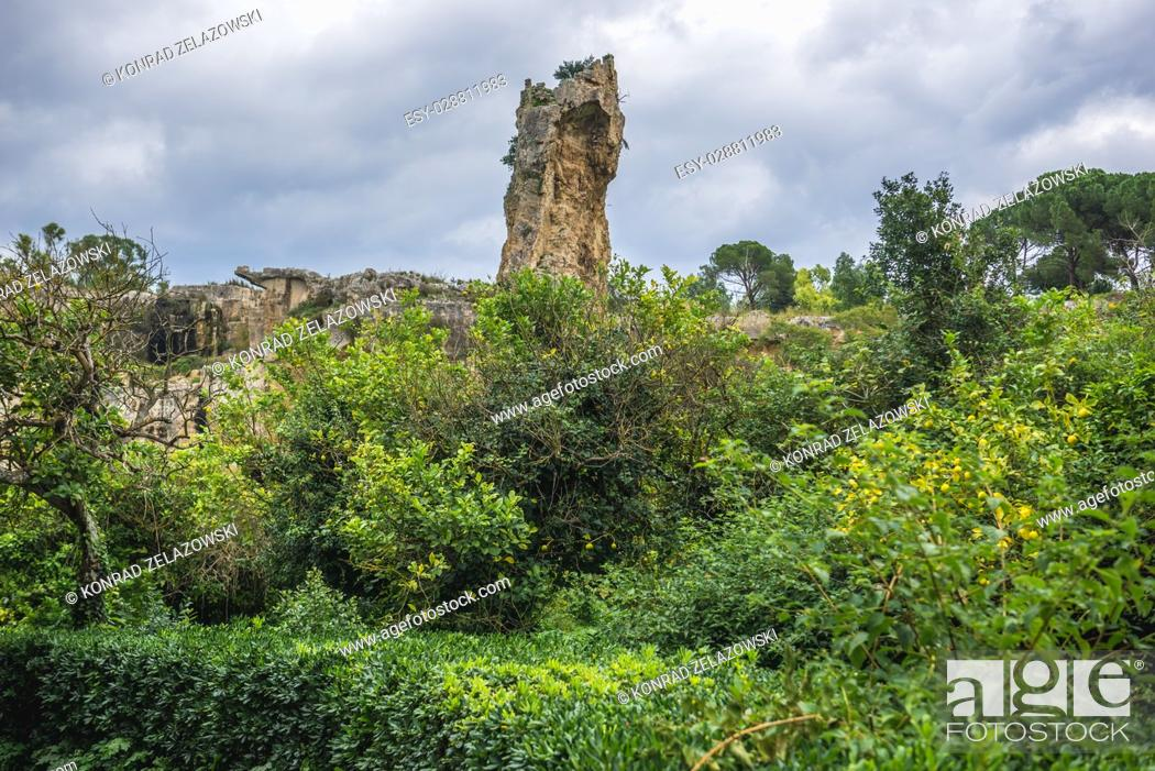 Stock Photo: Latomia del Paradiso ancient quarry, part of Neapolis Archaeological Park in Syracuse city, Sicily Island, Italy.