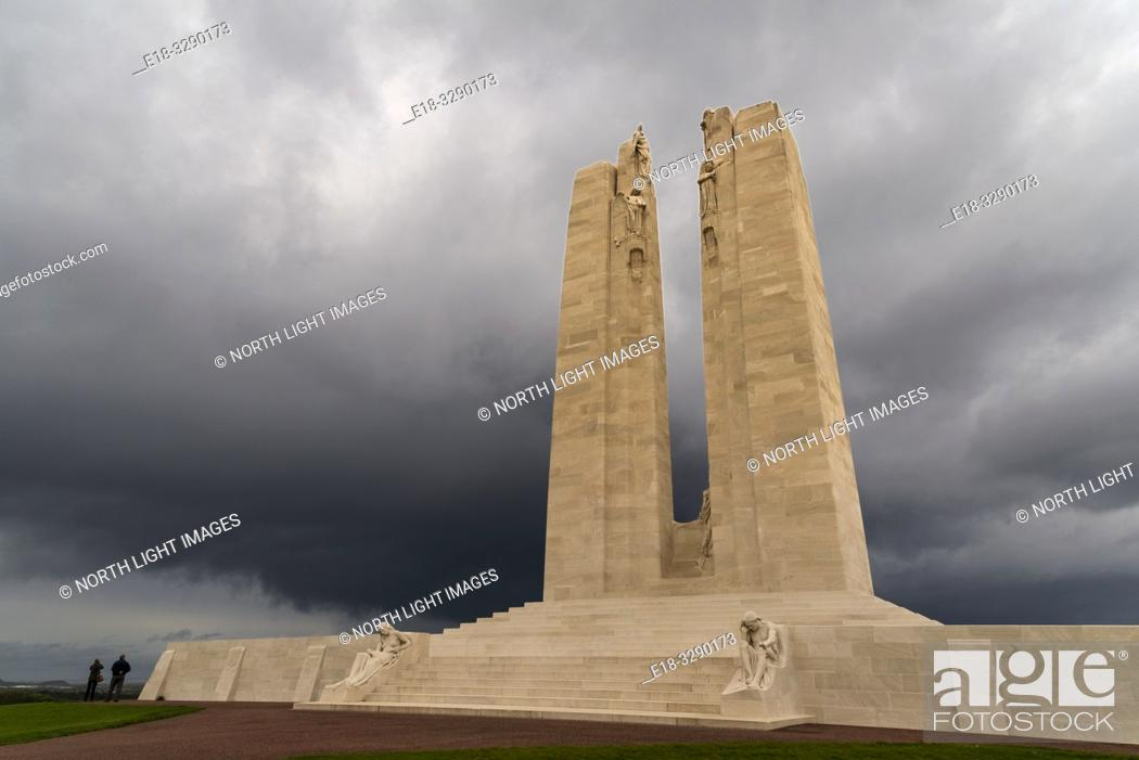 Stock Photo: France, Arras, Vimy Ridge Memorial. World War I memorial site dedicated to the memory of Canadian Expeditionary Force members killed during the First World War.