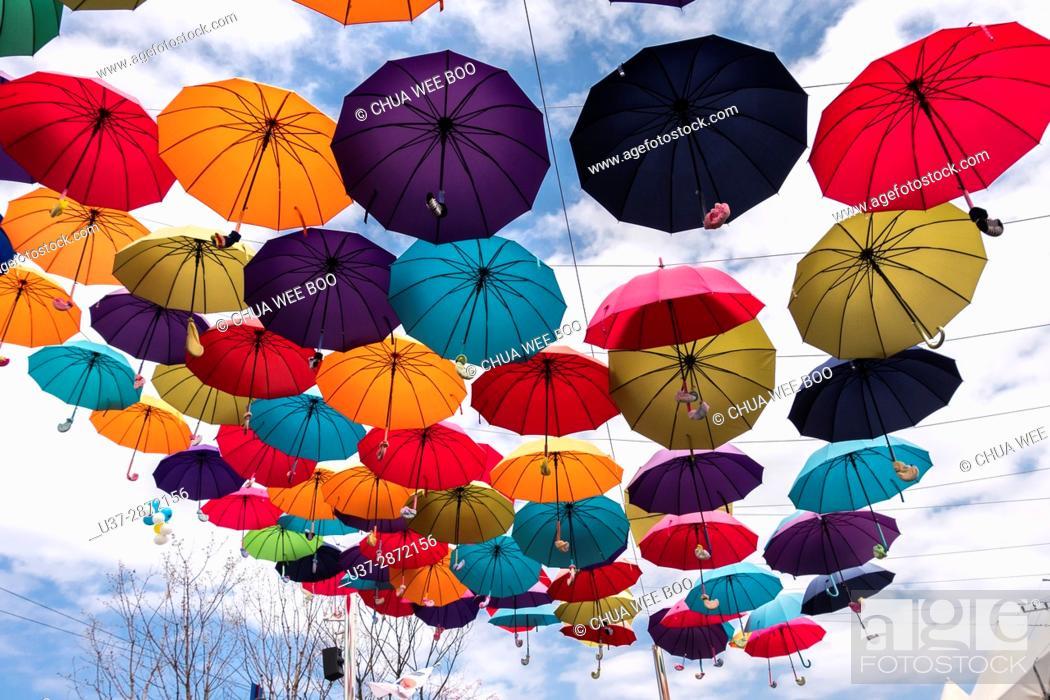 Stock Photo: Hanging umbrellas at Rail Park, Korea.