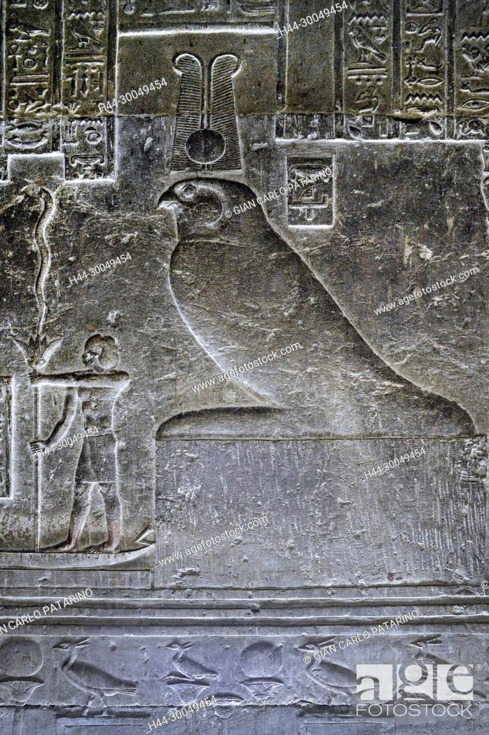 Stock Photo: Dendera Egypt, ptolemaic temple dedicated to the goddess Hathor. Carvings on internal wall.