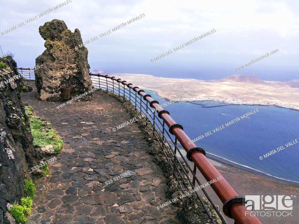 Stock Photo: Graciosa island fron The River viewpoint. Lanzarote. Canary Islands. Spain. Europe.