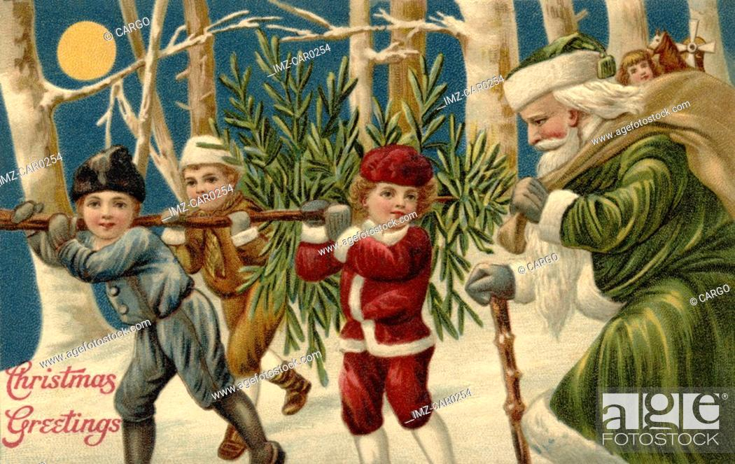 Stock Photo: Vintage Christmas postcard with children carrying a tree, while Santa Claus looks on.