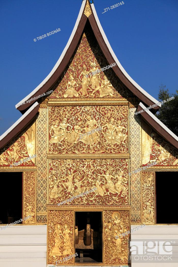 Stock Photo: Laos, Luang Prabang, Wat Xieng Thong, Funerary Carriage Hall, buddhist temple,.