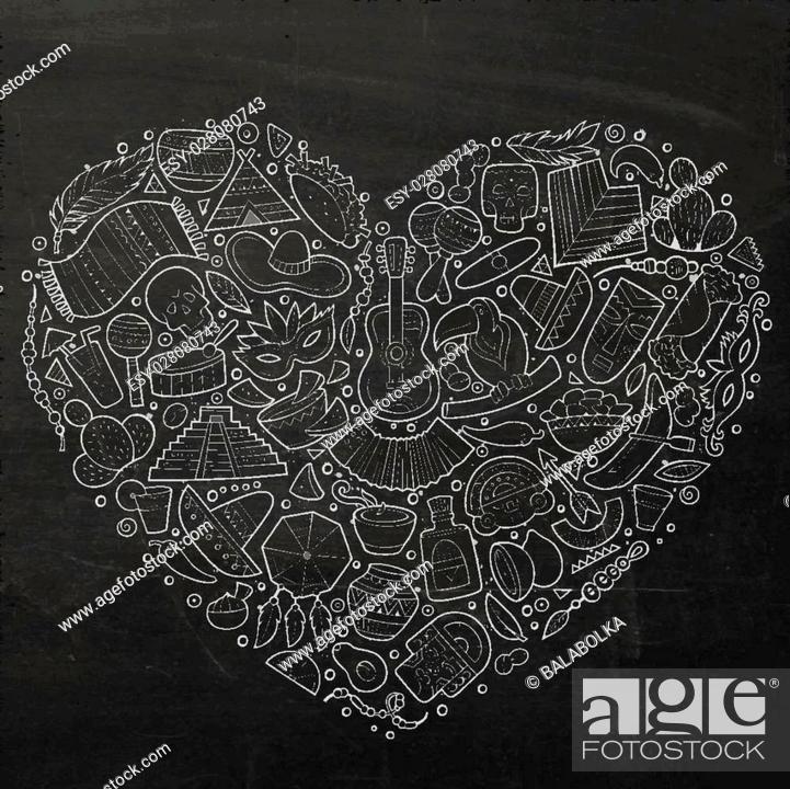 Chalkboard Vector Hand Drawn Set Of Latin American Cartoon Doodle