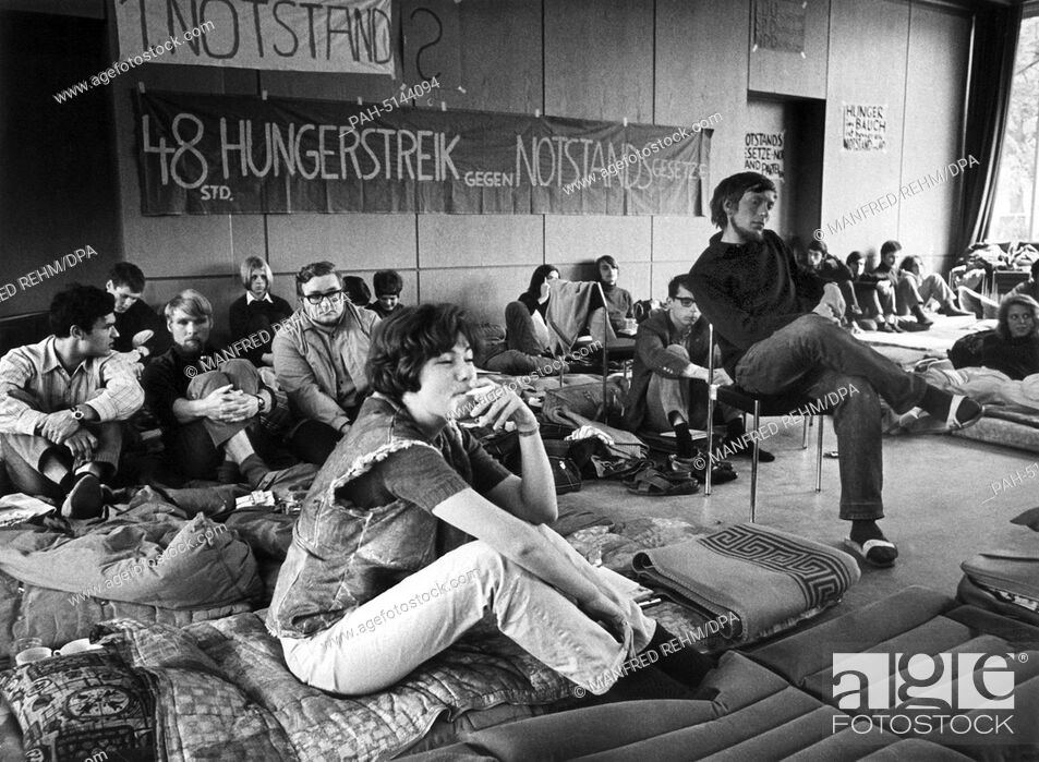 Stock Photo: Students are on hunger strike to demonstrate against the emergency laws in Marburg on the 19th of May in 1968. - Marburg/Hessen/Germany.